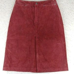 GAP Brick Suede Knee Skirt Satin Lined Vent 2000
